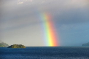 Rainbow emerging from sea